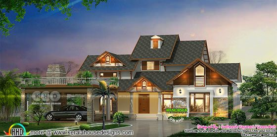Modern mix roof traditional house in an area of 3500 square feet