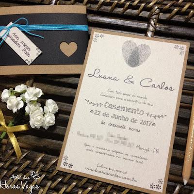 convite artesanal personalizado aniversário infantil 15 anos casamento moderno rústico diferente informal estampa impressões digitais do casal papelaria personalizada para festas mini wedding scrapfesta scrap