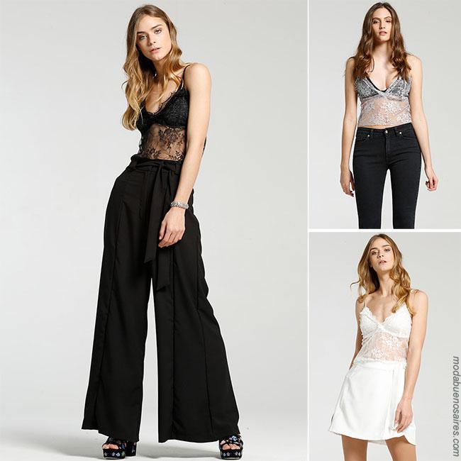 Blusa top con transparencia con palazzo falda o pantalon - Moda 2018 mujer