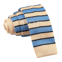 MENS KNITTED CREAM, BABY BLUE WITH BLACK STRIPES TIE