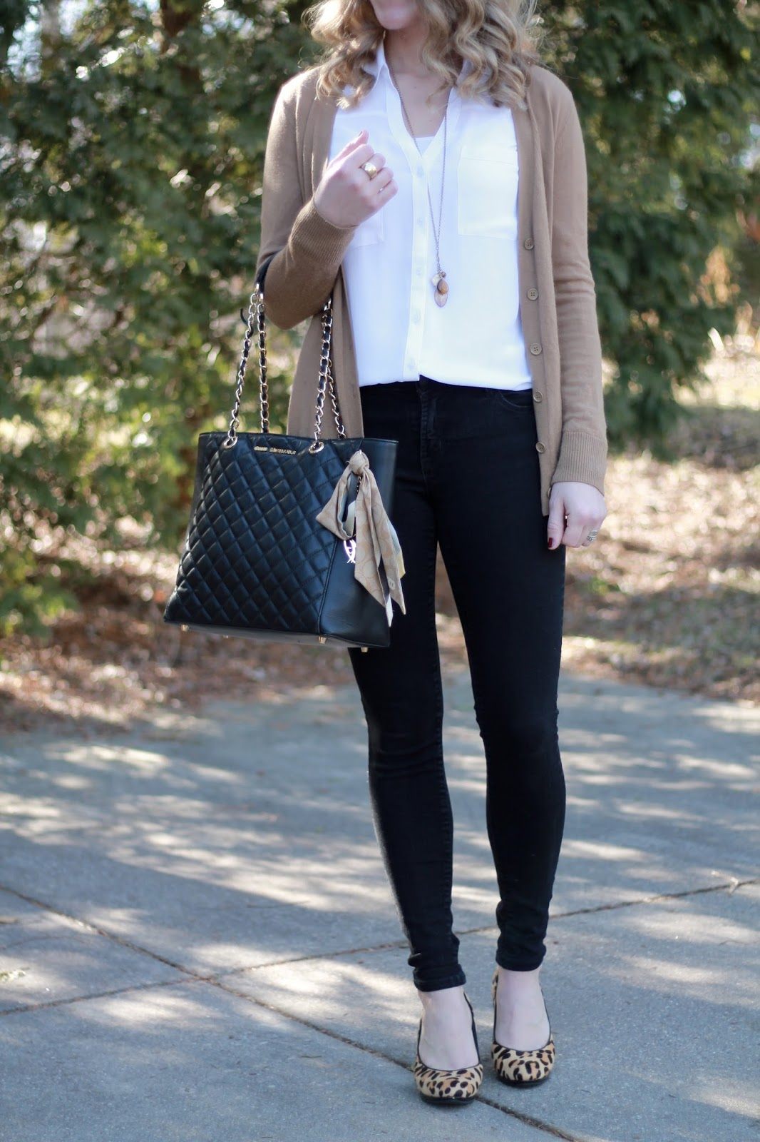 Express white portofino, camel tan cardigan, black jeans, leopard heels, Black quilted Greg Michaels tote