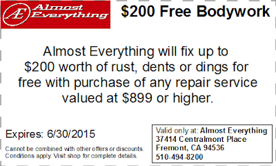 Coupon $200 Free Bodywork Discount June 2015