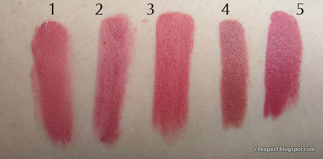 Swatches of 1. Urban Decay Vice Lipstick in Naked; 2. L'Oreal La Lacque in Choco-Lacque; 3. Wet N Wild Megalast Lipstick in Rose Bud; 4. Lord & Berry Lip Crayon in Intimacy; and 5. Marc Jacobs Kiss Kiss Bang Bang.