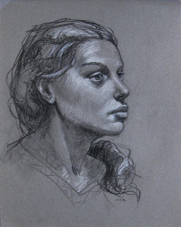Head of woman, female portrait drawing chalk charcoal ...