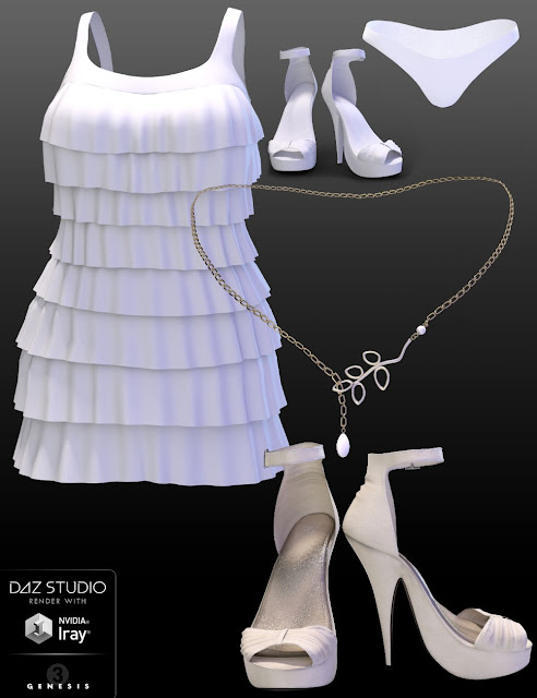 Tiered Lace Outfit for Genesis 3 Female