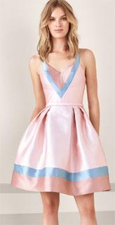 vestido corto para coctel tricolor 2019