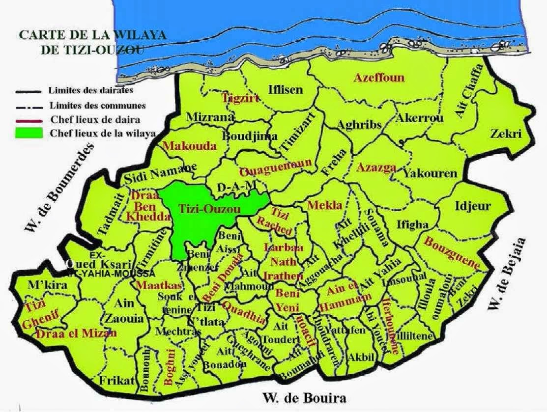 Carte Algerie Tizi Ouzou.Decoupage Administratif De L Algerie Monographie