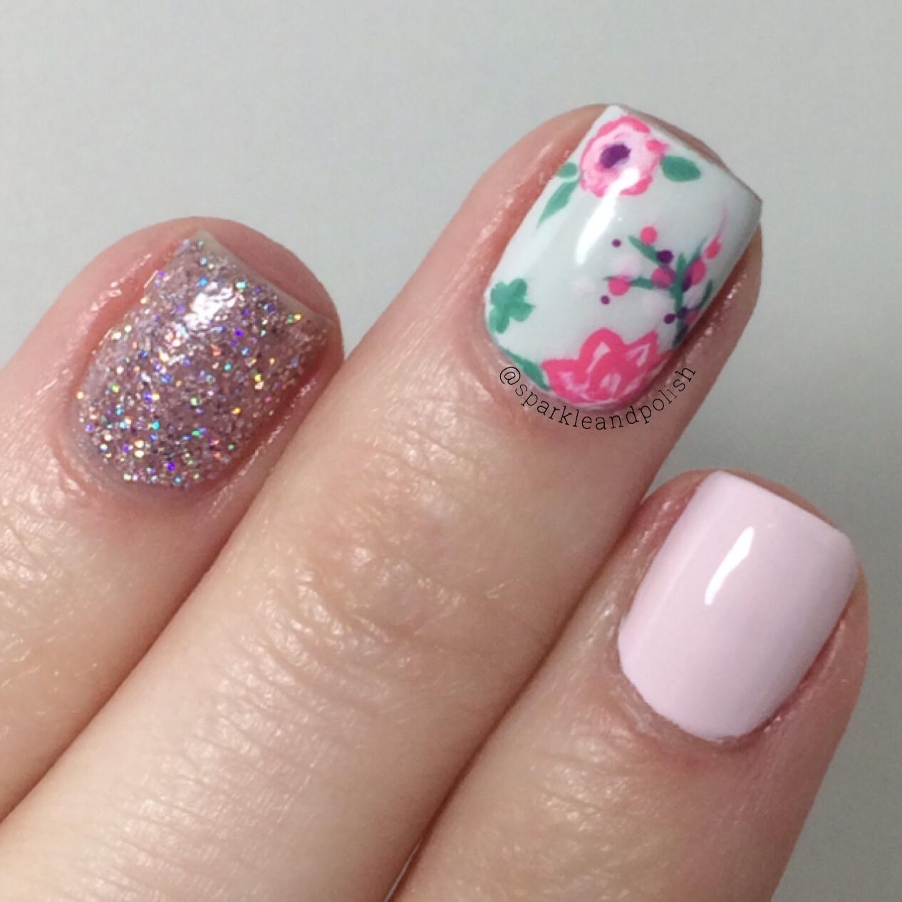 Q Riouser Q Riouser Nail Art: A Little Sparkle And Polish: Pastel Flower Nail Art