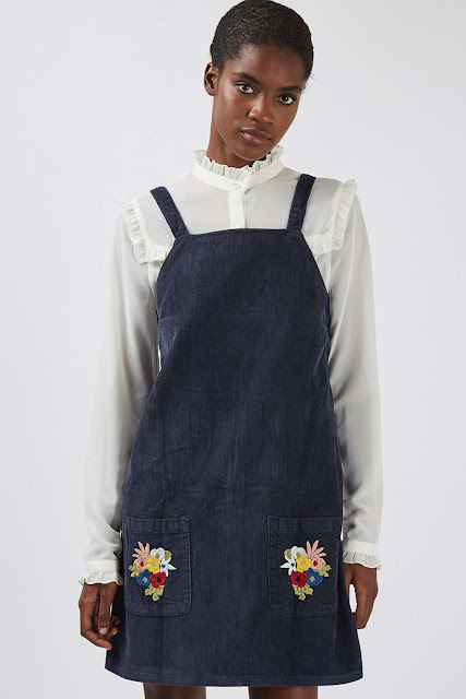 embroidered pinafore womens, topshop embroidered pinafore, topshop pinafore dress, black pinafore embroidered,