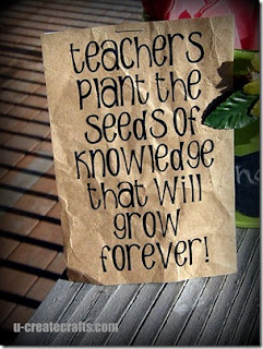 teachers plant the seeds of knowledge that will grow forever saying printed on brown paper bag