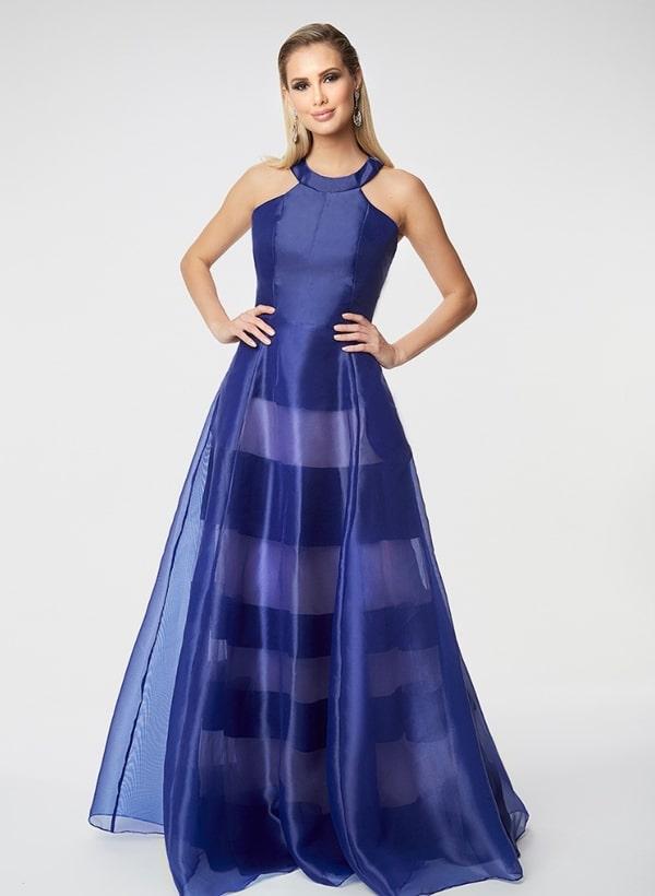 vestido de festa longo azul royal estilo princesa com transparência