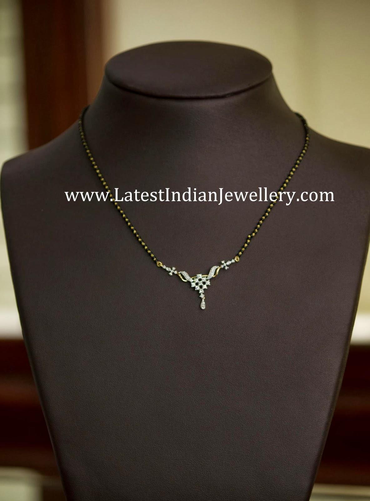 Simple Diamond Black Beads Mangalsutra Latest Indian
