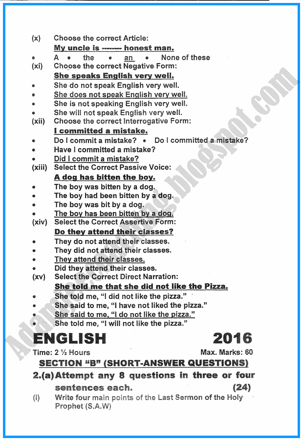 ix-english-past-year-paper-2016