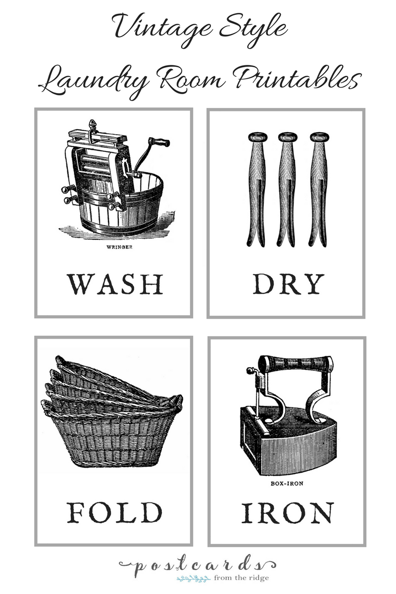 old fashioned laundry room wall art printable.