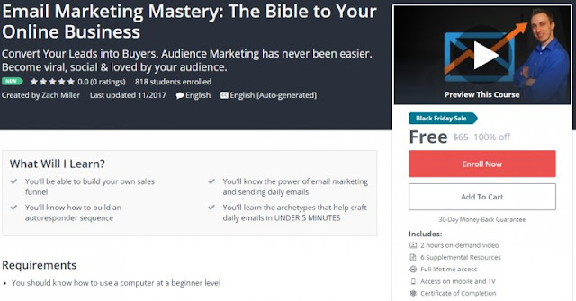 [100% Off] Email Marketing Mastery: The Bible to Your Online Business| Worth 65$