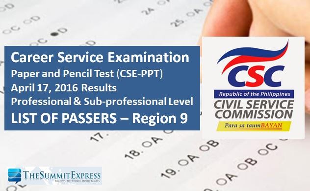 Region 9 Passers: CSC releases April 2016 Civil Service Exam (CSE-PPT) results