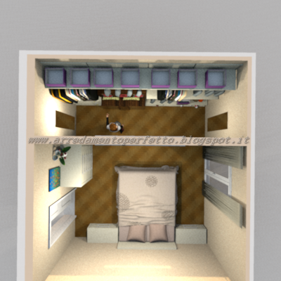 Vista dall'alto della camera da letto con cabina armadio