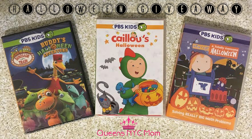 one of my readers will win their own copy of the dinosaur train peg and cat and caillou halloween dvds