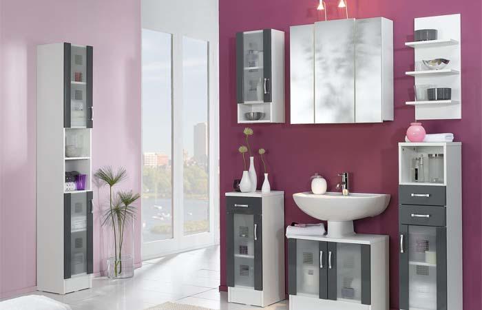 mor tasarım modern banyo
