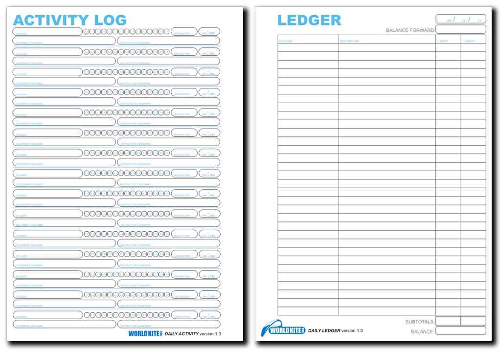 World Kite Organization Daily Ledger \/ Activity Log v1 - activity log template