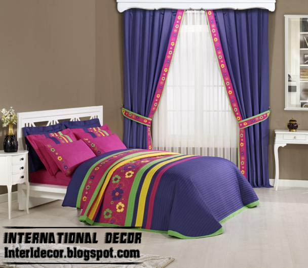 Purple Sets Of Curtain And Duvet Covers For Kids Room, Purple Kids Room  Sets Of Curtain And Duvet