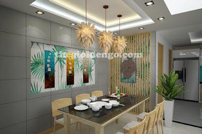 Thế Giới Đèn Gỗ - Đèn gỗ trang trí hoa quỳnh với kiểu thả trần thì thích hợp ở phòng ăn