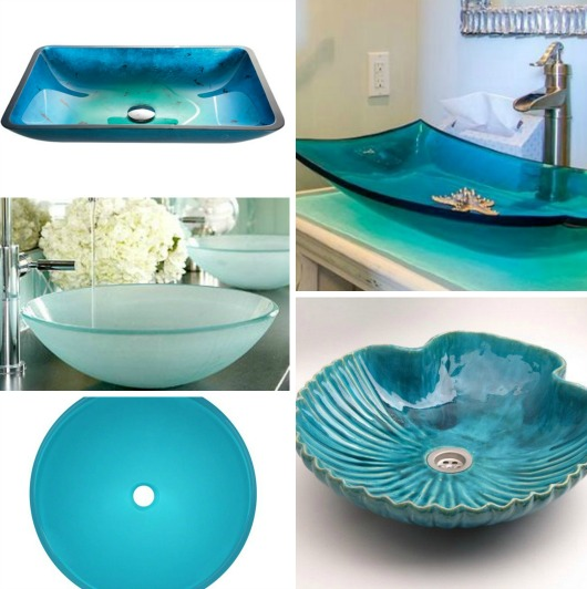 Coastal Bathroom Sinks  Frosted Glass Shells Fish
