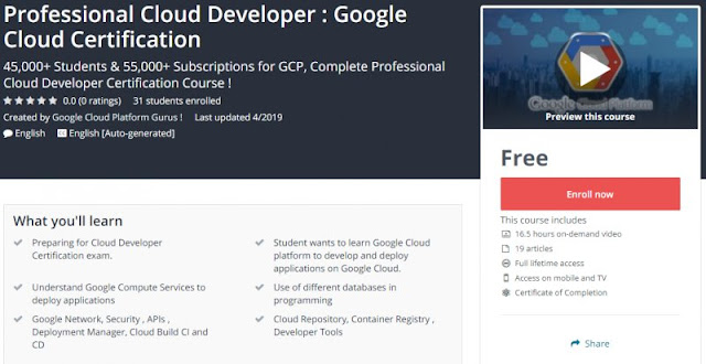 [100% Free] Professional Cloud Developer : Google Cloud Certification