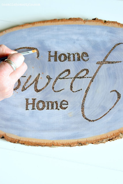 Blue stained wood slice Home Sweet Home Wall Art - One Mile Home Style