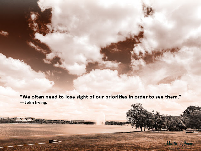 'We often need to lose sight of our priorities in order to see them' - John Irving