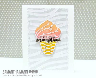 You Still Look Scrumptious Card by Samantha Mann, Create a Smile Stamps, handmade cards, ice cream, stencil, die cut, #createasmiles #icecream #cards, #distressoxide #birthday