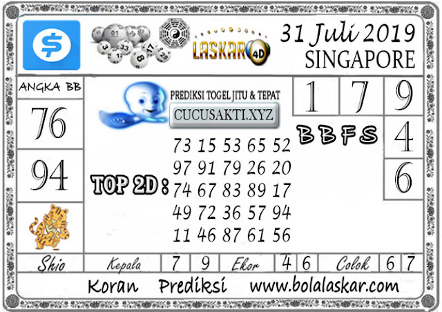 Prediksi Togel SINGAPORE LASKAR4D 31 JULI 2019