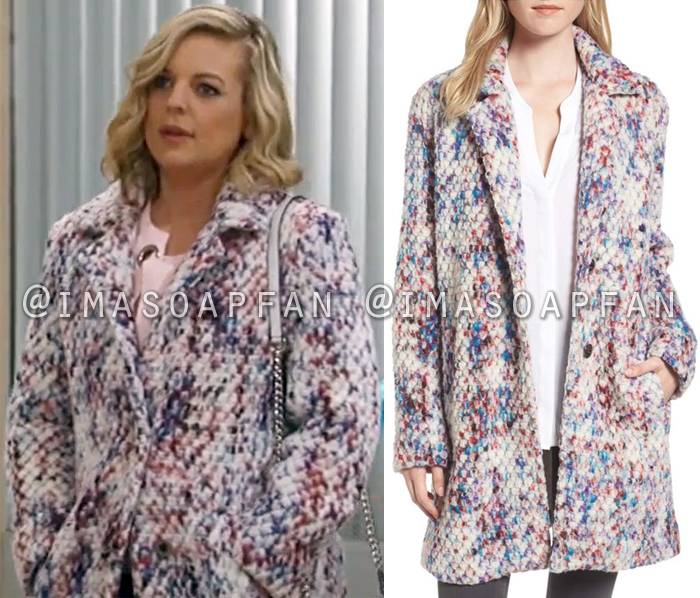 Maxie Jones, Kirsten Storms, Multicolored Confetti Coat, General Hospital, GH