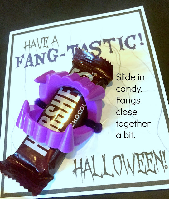 Printable Halloween Cards with plastic fangs and chocolate.