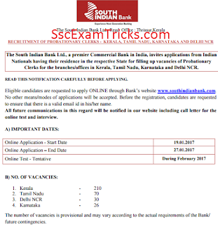South Indian Bank Exam date