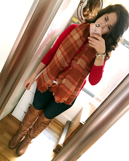 Tori's Pretty Things // Orange Blanket Scarf, Thanksgiving Outfit 2016