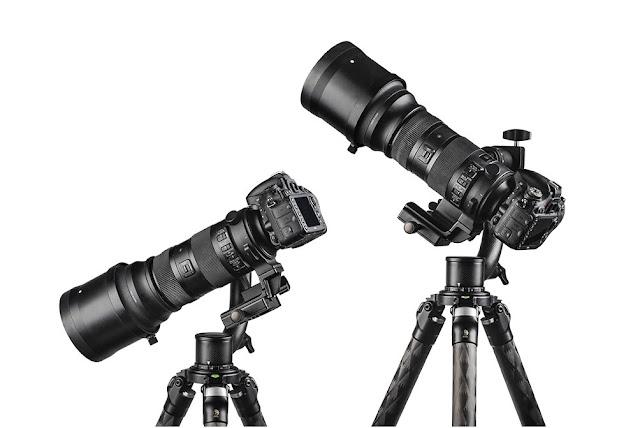 Sunwayfoto GH-01 Gimbal w/ Nikon camera and telephoto tilted