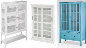 Glass Display Cabinets Tall White Blue