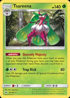 Tsareena Sun and Moon Pokemon Card