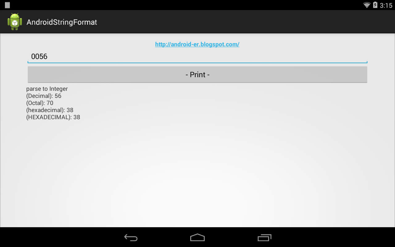 Android-er: Display formated number in decimal, octal and