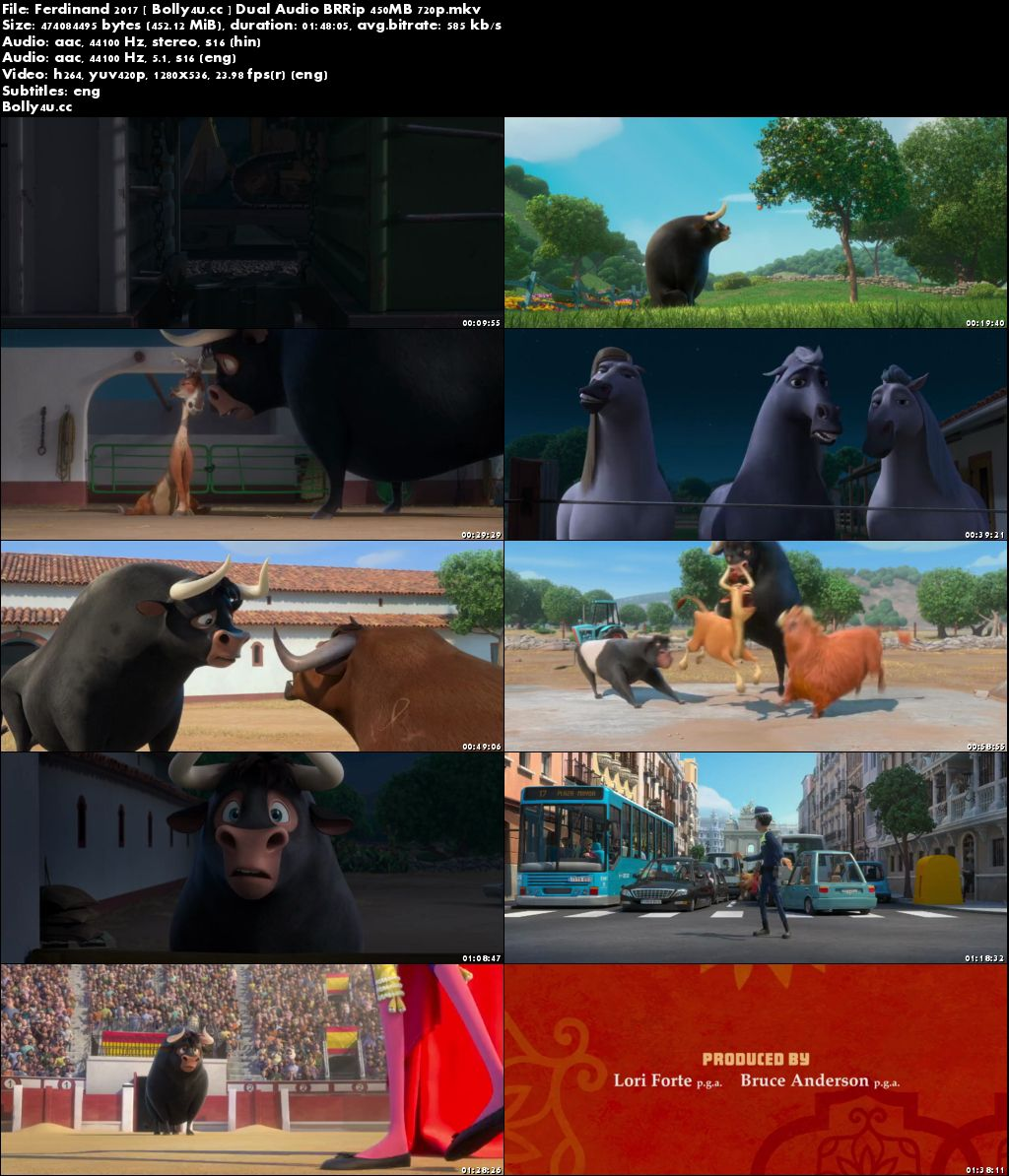 Ferdinand 2017 BRRip 450MB Hindi Dual Audio 720p Download