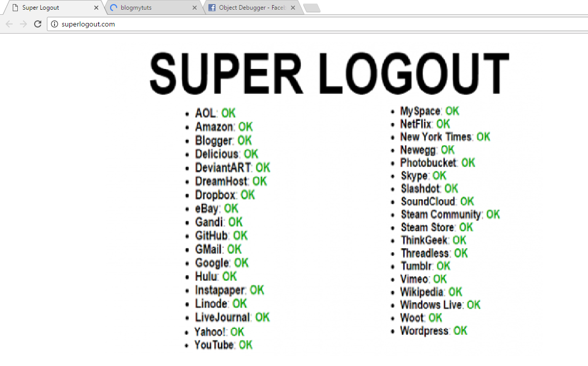 Superlogout A Website You Can Use To Instantly Logout Of All Active Online Accounts Blogmytuts