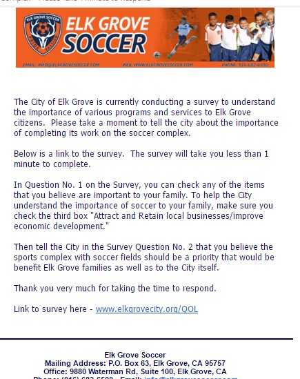 Will City Qualify Survey as Unscientific as Elk Grove Soccer Attempts to Skew Results?