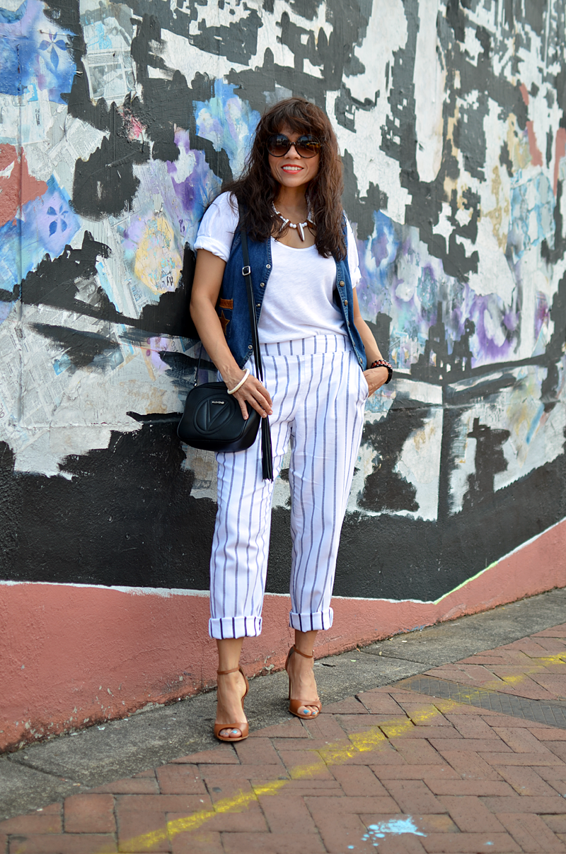 Striped pants street style