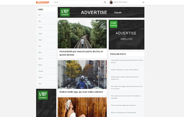 BLOGAMP AMP Responsive Personal Blog Tutorial Tips and Tricks Blogger Template Theme