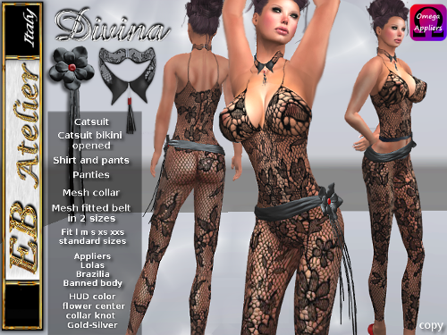 https://marketplace.secondlife.com/p/EB-Atelier-Divina-Catsuit-black-lace-3-styles-with-LolasBanned-bodyBrazilia-appliers-italian-designer/7105713