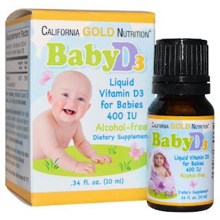 مكمل غذائي للاطفال بفيتامين دي 3 من اي هيرب California Gold Nutrition, Baby Vitamin D3, 400 IU, .34 fl oz (10 ml)