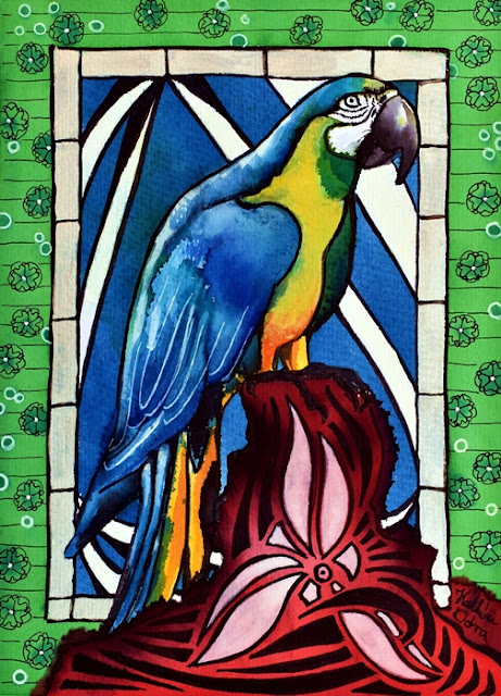 In Love with a Macaw, original tropical bird painting by Dora Hathazi Mendes
