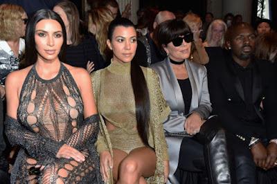 Kim Kardashian, Kourtney Kardashian, Kris Jenner and Corey Gamble at the Balmain spring 2017 show during Paris Fashion Week. Photo: Pascal Le Segretain/Getty Images