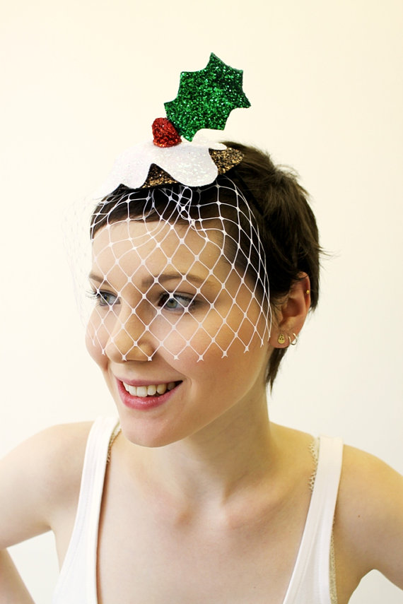 Christmas Pudding and Holly Fascinator f6a3c27b702